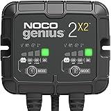 NOCO GENIUS2X2, caricabatterie automatico inteligente portatile 6V e 12V 4A (2A per banca), AGM, gel e litio, mantenitore di