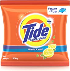 Tide Plus Detergent Washing Powder with Extra Power Lemon and Mint Pack - 500 g