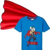 Marvel T-Shirt Bambino, Maglietta Avengers in Cotone con Mantello, Abbigliamento Ufficiale Ragazzo 4-14 Anni