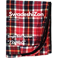 SwadeshiZon Cotton Mattress Cover for Single Bed Dewan with Zip/Chain 72x48x5, Multicolour (Color May Vary)