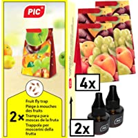 PIC - Fruit fly trap and vinegar fly trap - 4 glue traps with 2 attractant containers - Means to fight fruit flies - Suitable for the kitchen