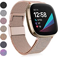Faliogo Kompatibel mit Fitbit Versa 3 Armband/Fitbit Sense Armband, Edelstahl Metall Ersatzband Armband mit…