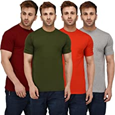 London Hills Men's Cotton T-Shirt (Pack Of 4) (Lh_T_Plain_4Combo_Half_Parent)