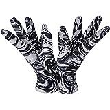 Sebeto Un paio di Guanti Moda Donna Eleganti Invernali e Caldi in Velour di Poliester Taglia Unica fondo nero zebrato bianco