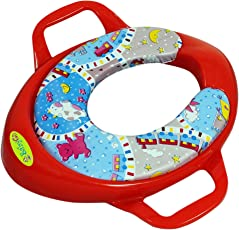 BabyGo Soft Cushion Potty Trainer Comfortable Seat with Support Handles (Red)