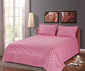 Cloth Fusion 300TC Polyester Cotton Prima Checkered Double Bed Cover with 2 Pillow Covers (90x100-inch, Pink)
