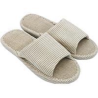 AioTio Femmes et Hommes Cotton Flax Casual Soft Light à Bout Ouvert Pantoufles Maison Confortables Et Respirables…