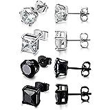 Sailimue 4 paia di orecchini in acciaio inox per gli uomini le donne orecchini zirconi, 3-8MM disponibile