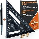 Timmerhoek van metaal aluminium [+ pen + handleiding FR] geleiderail / gereedschap voor knutselen, timmerman/regel, gradenboo