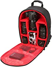 House of Quirk Camera Bag Camera Backpack Waterproof Fabric, Anyprize SLR Camera, Lens, Tripod and Camera Accessories with Rain Cover Protector - Red