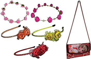 Goodluck presents combo of Multi color Floral Metal Hairbands, Tiara and 3D Sling Bag(For Kids)