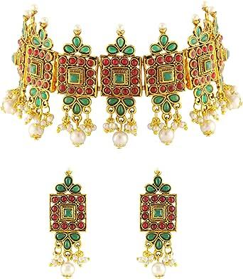 Matushri Art Pearl Necklace Set for Women (Golden)