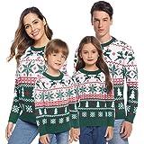 Aibrou Jerséis de Navidad Familia Manga Larga Jersey Navideño para Niño Niña Suéter para Mujer Hombre Invierno Pullover de Pu