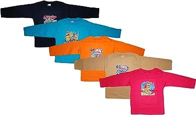KIFAYATI BAZAR Round Neck T Shirt Full Sleeve Cotton Hosiery T-Shirt Kids top tees Multi Color Pack of 5