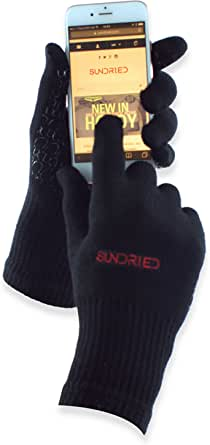 Cycling Sport Running Gloves Touch Screen Tech by Sundried - Breathable Bamboo Non-slip Silicone Gel, Black, M