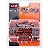 Black & Decker 45-delige bit- en boorset (bestaande uit 6x HSS zeskantboor, 30x schroefbits 25 mm, 8x schroefmesjes 50 mm, ma