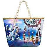 Weinsamkeit Große Strandtasche mit Reißverschluss, Damen Strandtasche Große XXL Shopper Schultertasche Beach Bag fur Reisen,