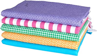 Sathiyas Supreme Multicolor 100% Pure Soft Cotton Bath Towels - Pack of 5