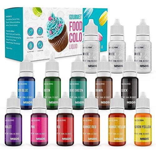 Jelife Coloranti Alimentari Liquido a 14 Colori Commestibile Concentrati per Cuocere Decorare Senza zucchero e Alcool per Torta Fondente Biscotto Macaron(10ML)