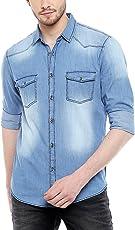 Dennis Lingo Men's Denim Medium Blue Solid Casual Shirt