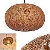 Suspension Kemer en métal couleur rouille, élégante lampe pendante rétro-orientale idéale dans un salon vintage, Ø 30cm, max.