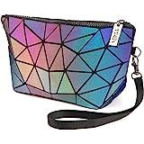 Tikea Schminktasche - Kosmetische Klein Make up Tasche, Kosmetikkoffer Geometrische Make up Handtasche Mädchen, Leuchtend Mak