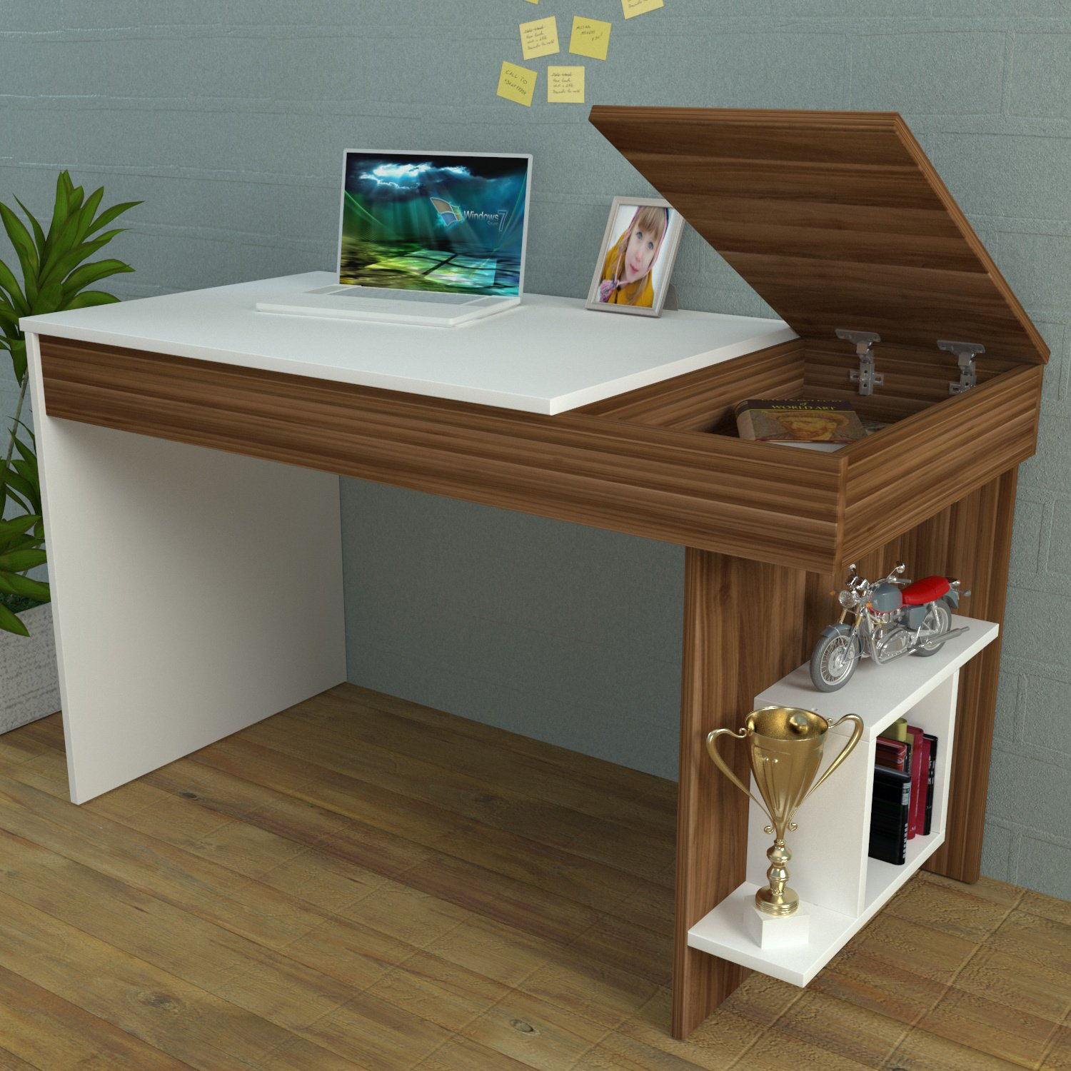 Hidden Bureau White Walnut Computer Workstation Home