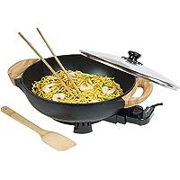 Bestron Wok électrique AEW100AS avec poignées en bambou, wok XL avec couvercle en verre, design asiatique, avec spatule…