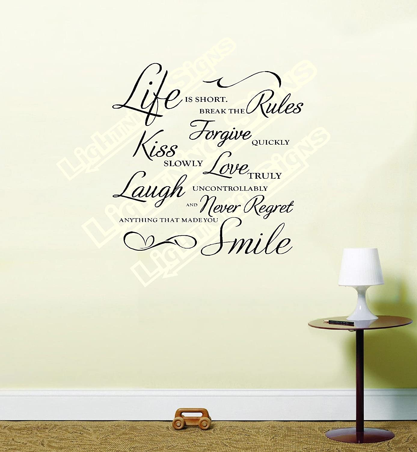 Life Is Short Break The Rules Wall Art Quote Vinyl Wall Art Sticker Decal  (Black): Amazon.co.uk: Kitchen U0026 Home Part 84