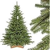 FairyTrees :Sapin de Noël Artificiel, Sapin de Bavière Premium, Socle en Bois, 180cm, FT23-180