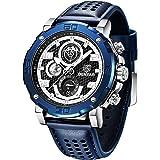 Montre Homme BENYAR Montre-Bracelet chronographe pour Homme avec Bracelet en Cuir Mouvement à Quartz avec Calendrier de Date