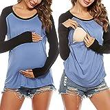Sykooria Tops de Maternidad para Mujer Camisas de Lactancia Camiseta de Lactancia Suave de algodón en Capas Top para Mujer Em