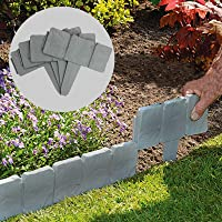 5M Grey Stone Effect Lawn Edging | Plant Bordering | Cobblestone Garden Border | Flower Bed & Grass | 20 Pieces | Pukkr