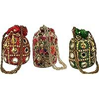 Filora Women's Potli (Set of 3) (Combo Potli 02 Red 03 Red 03 Green_Red)