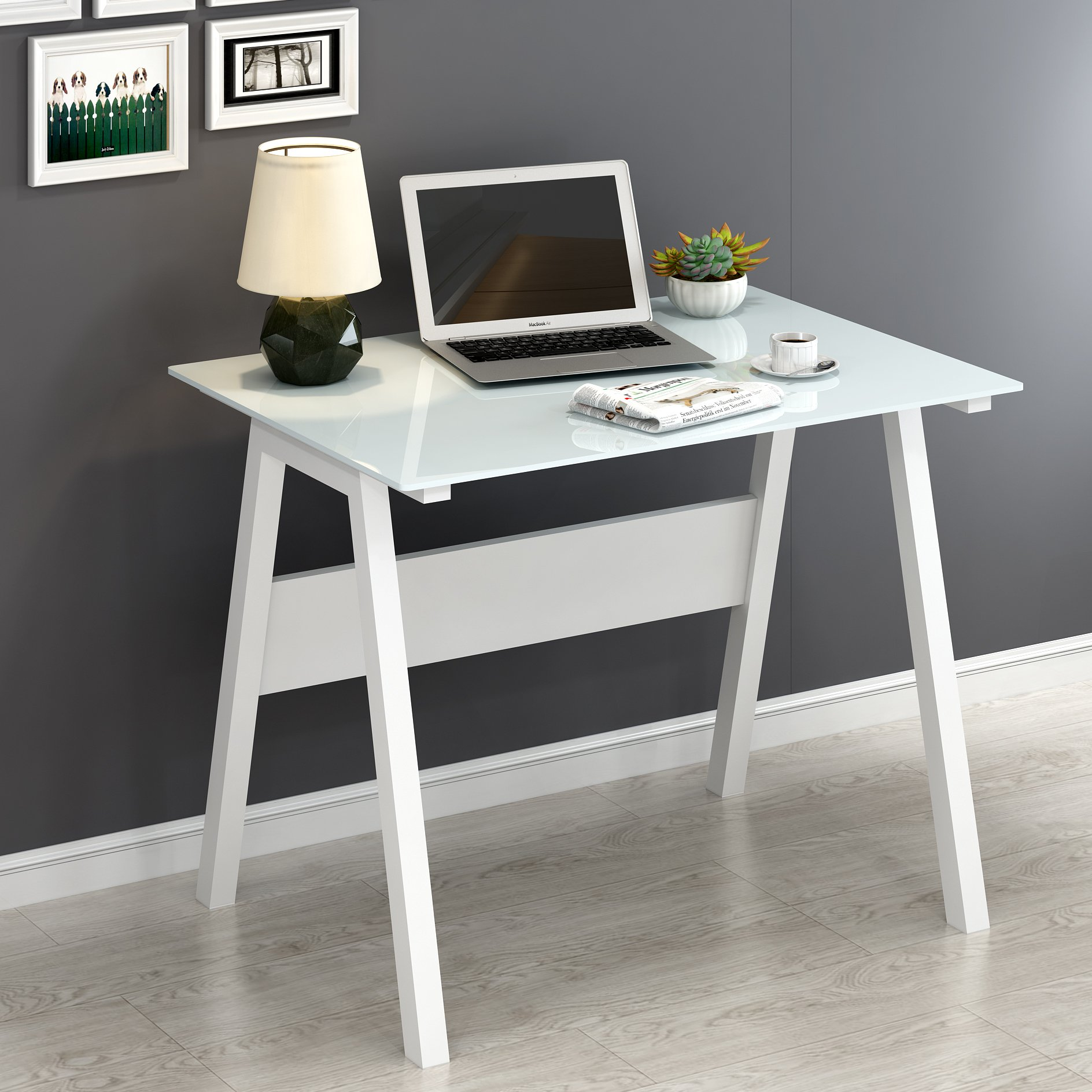 promo code f36ea 9e6b9 Details about Small White Study Desk Tempered Glass Top Metal Frame Laptop  Writing Desk Office
