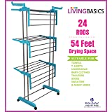 LivingBasics Stainless Steel Double Pole Foldable Clothes Drying Stand/Cloth Dryer Stands/Laundry Dry Rack with Wheels for In