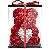 NADIR Rosen Bär Blumenbär mit Geschenkbox, Geburtstagsgeschenk für Frauen, Geschenk für Freundin zum Geburtstag Jahrestag, Ro