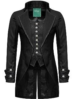 Star Leather 100% Coton pour Hommes Gothique Matinée Veste Queue de Pie  Noir Victorien Steampunk 02cef63b8d6