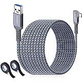 aceyoon Cavo per Quest Link 6M/20ft, 5Gbps USB 3.1 Gen 1 a Tipo-C Cavo 90 Gradi 3A Trasferimento Dati e Ricarica Veloce Compa