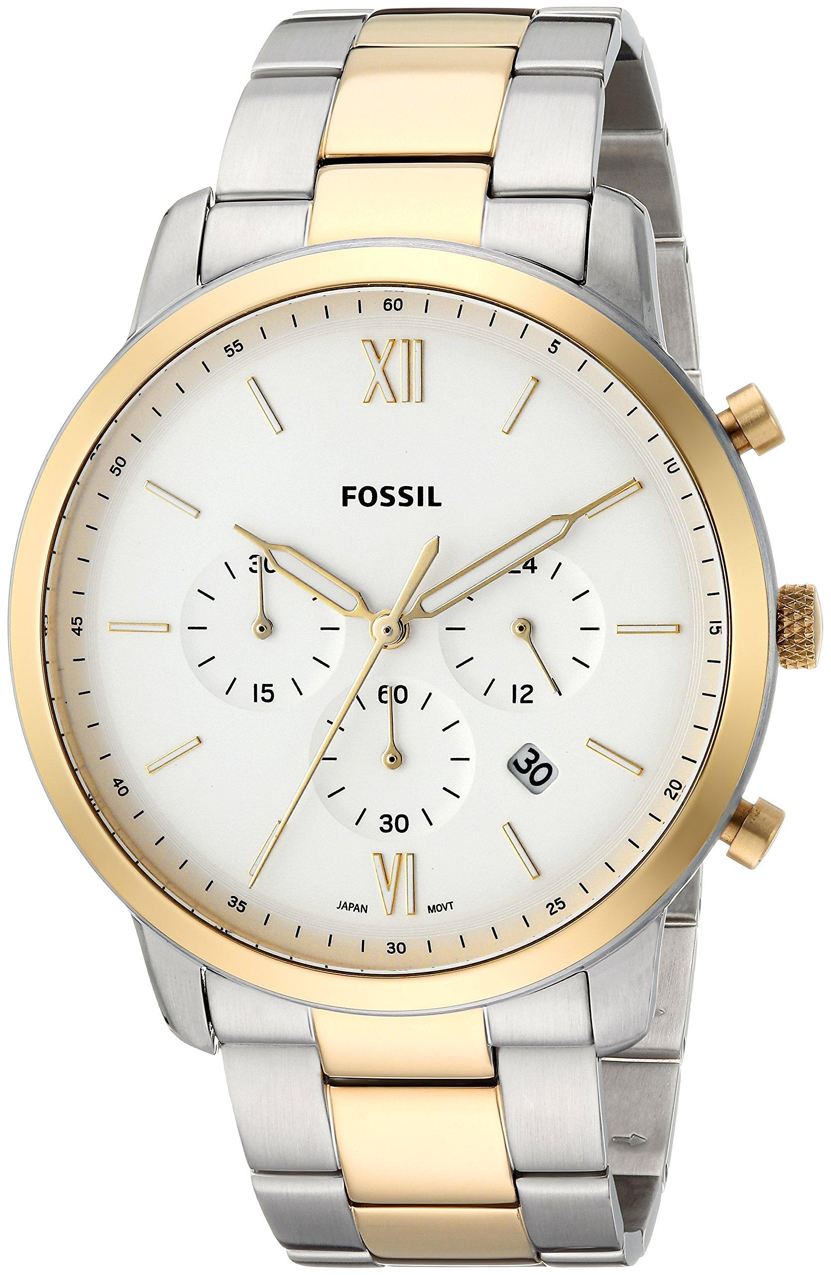 Fósiles de los hombres dos tonos reloj cronógrafo