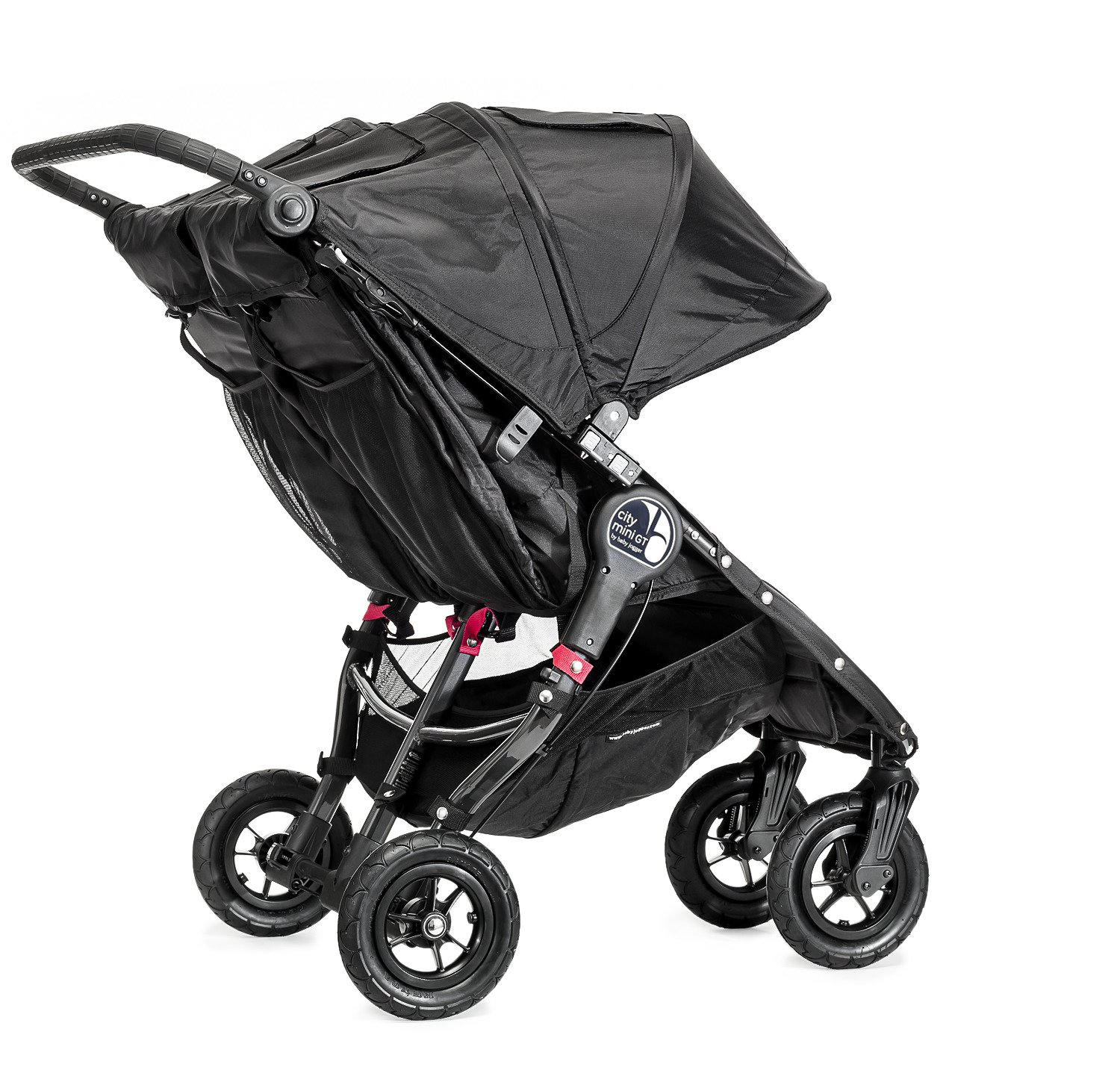 Baby Jogger City Mini GT Double Stroller Black  Taking a little detour is fun, the City Mini GT Double offers all-terrain wheels that let you make your own rules; the all-terrain wheels and front wheel suspension work in unison to give you full control on where and how you go while keeping your little one comfortable Lift the straps and the City Mini GT Double folds itself: Simply and compactly, it really is as easy as it sounds; the auto-lock will lock the pushchair for transportation or storage An adjustable handlebar can accommodate different heights and a hand-operated parking brake keeps all the controls within reach 4