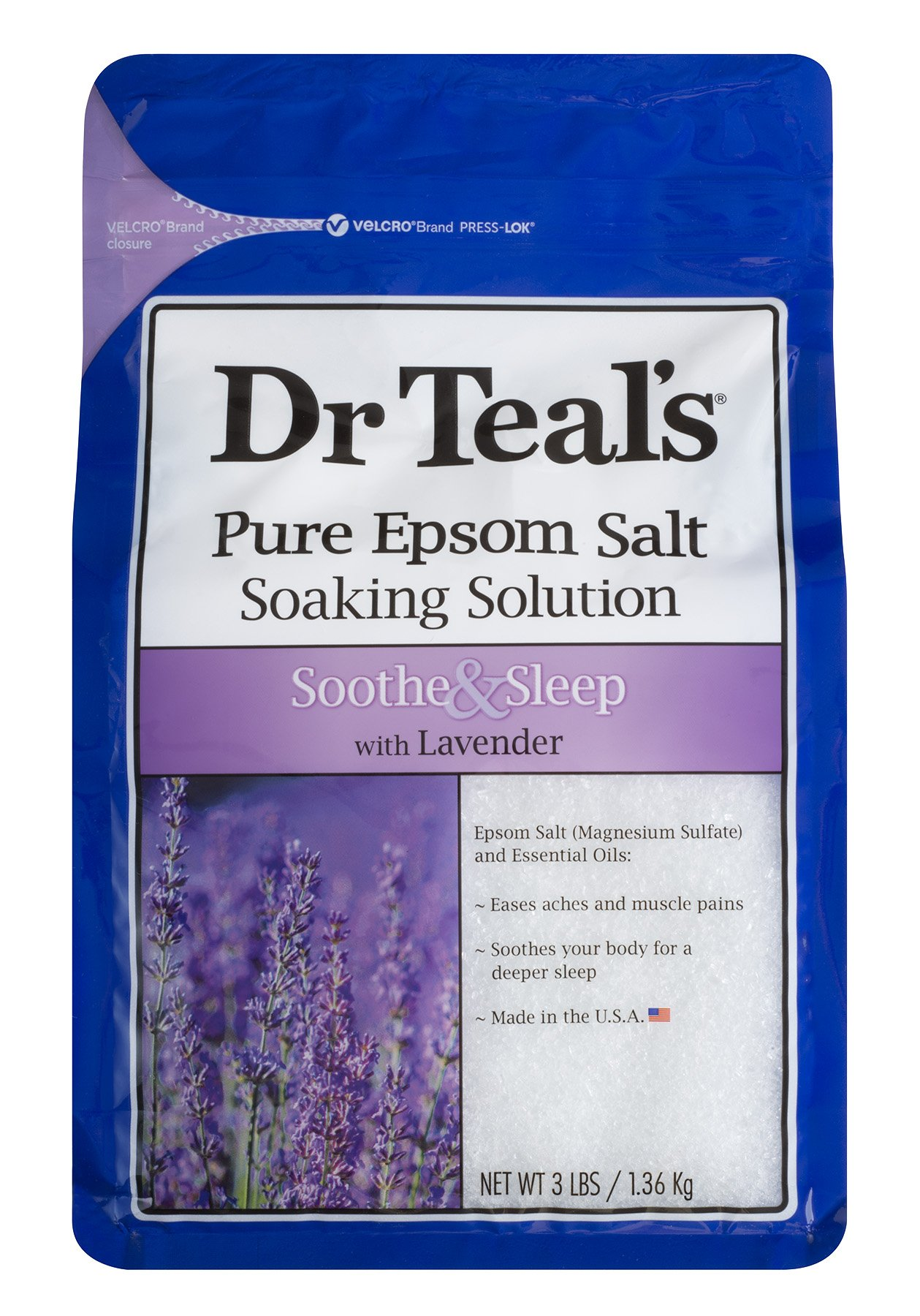 Dr Teal's Pure Epsom Salt Soothe and Sleep with Lavender, 1.36Kilogram