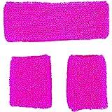 HEADBAND & WRISTBANDS SWEATBAND SET - NEON 80S FUN RUN TEAM BUILDING EVENT FANCY DRESS (Pink)