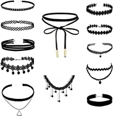 Tanmay 12 Choker Necklace for Women (Black)