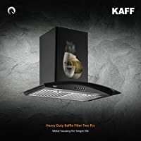 Kaff ACE BF 60 | Heavy Duty Baffle Filter| | Black Curved Tempered Glass | Matt Black Rust Free Coating | Soft Push Button Control