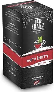 """Der Franz, Tè alla frutta """"Verry Berry"""" aromatizzato naturalmente in bustina piramidale, 30 x 2,5 g"""