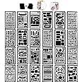 Tian Pochoirs Peinture Kit avec Sac de Toile Exquis -24pcs 7.0 x 4.1 Inches Plastique Pochoir Stencil Dessin Peinture Set pou