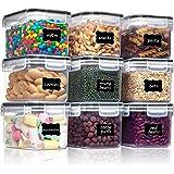 Vtopmart 0.8L boîtes de Conservation Alimentaire sans BPA de Nourriture en Plastique avec Couvercle,Ensemble De 9+24 Étiquett