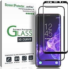 Galaxy S9 Displayschutzfolie, amFilm Vollständige Abdeckung (3D Abgerundete) Panzerglas (Gehärtetem Glas) Schutzfolie für Samsung Galaxy S9 (1 Stück, Schwarz)
