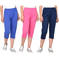ESPRESSO Women's Plus Size Casual Relaxed Fit Cotton 3/4th Summer Capri Pants - Pack of 3